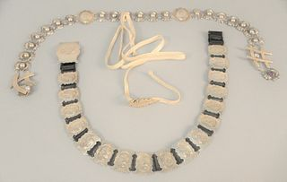 """Three silver belts to include one mounted with stones, lg. 30"""", approximately 8 t.oz."""