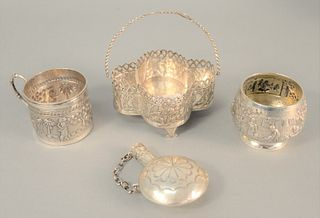 Four-piece silver lot to include mug with handle, basket, flask and a cup, 14.2 t.oz.