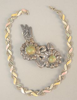 """Two-piece lot to include sterling silver pin mounted with stones, lg. 4 1/2"""", signed """"Vigueris"""" along with necklace, lg. 16"""", 3 t.oz."""