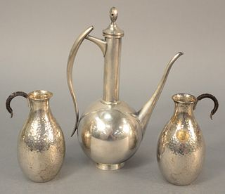 """Three-piece silver teapot, ht. 8 1/2"""", along with two containers marked 'Kumamoto Kuko Country Club' with hand-hammered finish, ht. 4 3/4"""", 15.2 t.oz."""