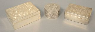 """Three silver boxes, all with liners, largest 3 1/4"""" x 4 1/4""""."""