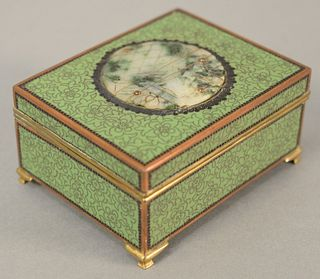 """Yamanaka cloisonne enamel box mounted with hardstone plaque, green with brass mounts, stamped """"Yamanaka & Co., Made in Japan"""" to interior, ht. 2"""", w."""