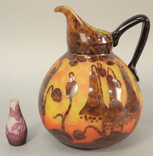 """Two cameo art glass pieces to include small Charles Vessier bud vase, ht. 3 1/2"""", signed 'C. Vessier Nancy' on the side and a cameo art glass pitcher"""