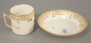 "Royal Copenhagen Flora Danica coffee cup and saucer marked 'Viola Umbrosa', saucer dia. 5 1/2"". Provenance: The Estate of Ed Brenner, Short Hills N.J."