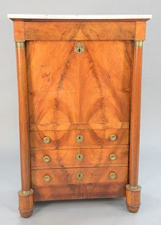 """French Empire secretaire, 19th C., with marble top and columns and brass mounts, ht. 58"""", wd. 37""""."""