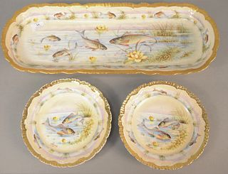 """Set of Twelve hand-painted fish plates along with a large platter, lg. 22 1/2"""", all signed """"Pierre"""", plate dia. 8 1/4""""."""