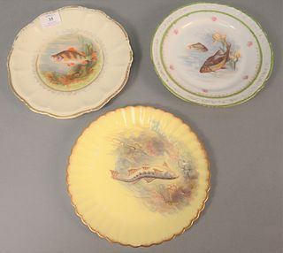 Three sets of hand-painted fish plates to include eight with green border, twelve yellow English plates along with ten having gilt borders, dia. 8 1/2
