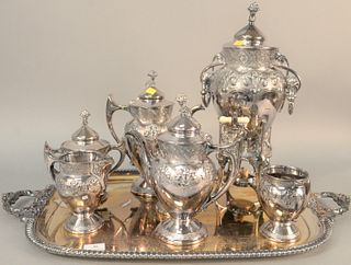 """Reed & Barton seven-piece silver plated tea set along with a large tray, lg. 30""""."""