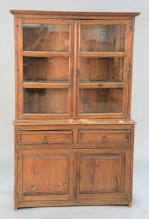 """Hutch with raised panels, ht. 71"""", wd. 45""""."""
