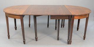 """Custom mahogany three-part dining table, ht. 30"""", size open: 48"""" x 90"""". Estate of Thomas Izard."""