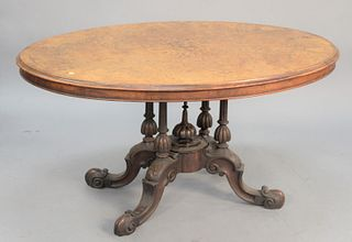 """Inlaid burl Victorian center table on pedestal base, ht. 27 1/2"""", top 38"""" x 53""""."""