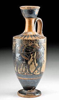 Greek Attic Black Figure Lekythos - Warrior & Biga