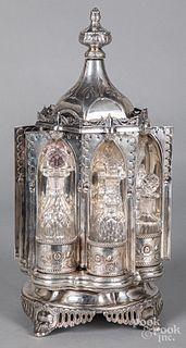 Silver plated revolving cruet set