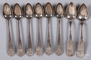 Six Philadelphia coin silver eagle back teaspoons