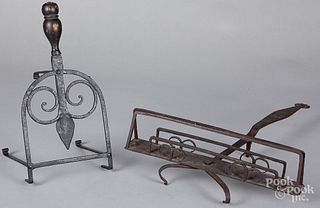 Wrought iron fireplace toaster and trivet, 19th c