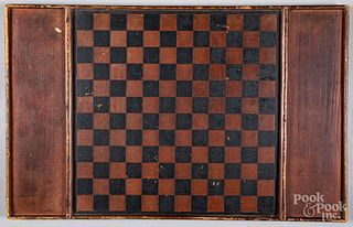 Painted pine gameboard, 19th c.