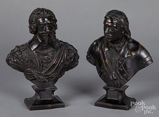Pair of bronze busts of Cromwell and Charles II