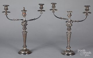 Pair of large silver plated candelabra