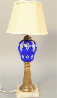 """Sandwich glass oil lamp, blue cut to white to clear on brass stem on marble base, electrified, total ht. 22"""". Estate of Tom & Alice Kugelman."""