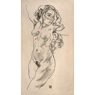 """EGON SCHIELE, Untitled, Signed and dated 1918 on plate, Lithography, 18 x 10.2"""" (46 x 26 cm)"""