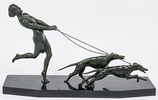 Melani Art Deco Bronze Woman with Dogs Sculpture