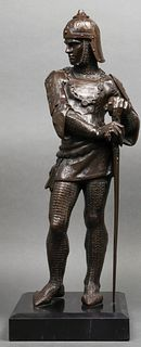Large Bronze Medieval Knight Sculpture