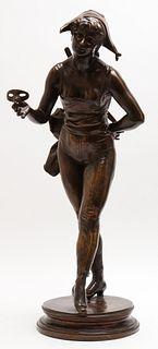 "Henri Allouard ""Colombina"" Bronze Sculpture"