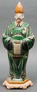 Chinese Ming Dynasty Sancai Pottery Attendant