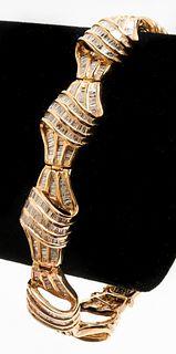 Vintage 14K Yellow Gold & Diamond Bracelet