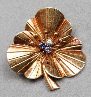 Vintage Tiffany & Co. 14K Sapphire & Diamond Clip