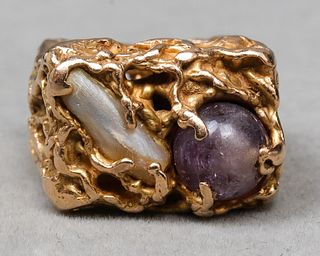 Vintage 14K Yellow Gold Amethyst & Pearl Ring