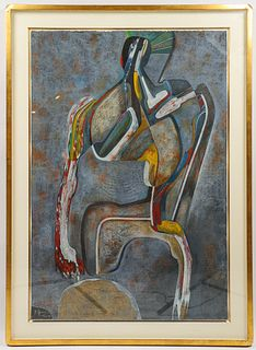 "Mihail Chemiakin ""Stylized Figure"" Pastel on Paper"