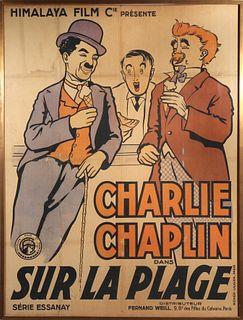 """Charlie Chaplin """"Sur La Plage"""" Large Poster, 1920"""