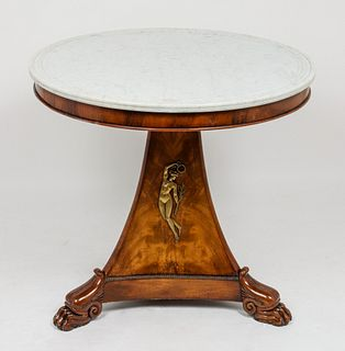 French Louis Philippe Marble Top Center Table