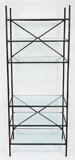 Giacometti Style Bronze & Glass 6 Tier Etagère