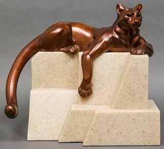 """Janet Rosetta Bronze """"Cougar"""" Sculpture"""