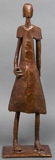 Bronze Signed Modern Abstracted Girl Sculpture