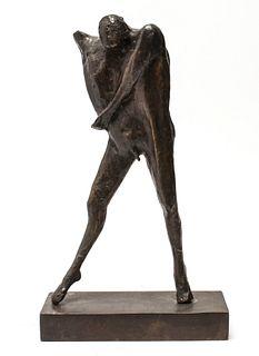 Hugo Daini Modern Stylized Standing Figure Bronze