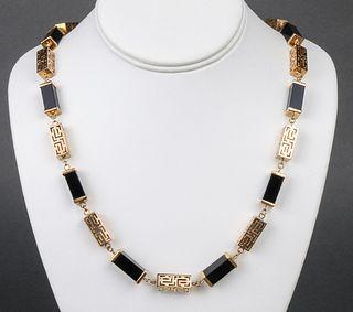 Vintage 14K Yellow Gold & Onyx Block Necklace
