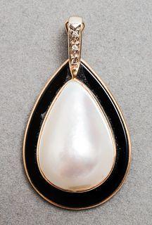 14K YG, Mabe Pearl, Onyx & Diamond Pendant