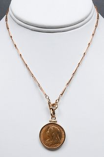 1898 Victoria Dei Gra Britt 22K Coin Necklace