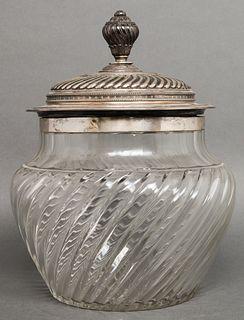 19th C. Russian Silver & Glass Tureen, Sazikov