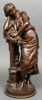 Mathurin Moreau Bronze Sculpture, Woman Resting
