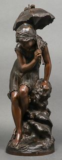 "Mathurin Moreau ""Girl with Umbrella"" Bronze"