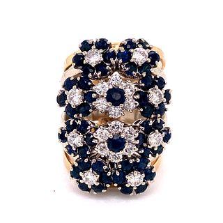 Sapphire Diamond Flower Ring