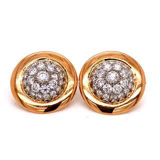 Round Diamond Clip 18k EarringsÊ