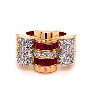 Retro Chevallier Diamond Rubies Ring