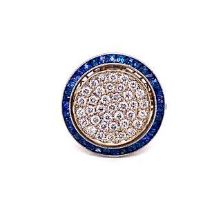 Art Deco Target Sapphire Diamond Ring