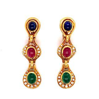 Sapphire, Ruby, Emerald Diamond Earrings 18k