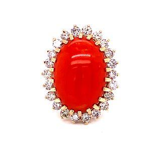 Coral, Diamond 18k Ring